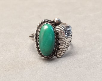 Vintage Native American Ring Sterling Silver Green Malachite Stone Feather Navajo Indian Southwest Jewelry Size 6 Unisex Mens Mans Ladies
