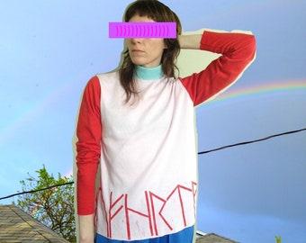 Rune shirt 2 // mock neck shirt w/hand printed runes // XS/S/M