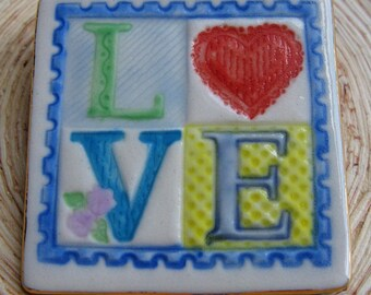 LOVE Brooch Handmade Porcelain Ceramic Jewelry
