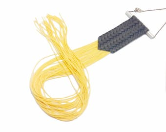 Gelb, fransenkette, lang Quaste Schmuck, Fransen Statementkette, Oversized Halskette, Textilschmuck, gelbe Quaste Halskette