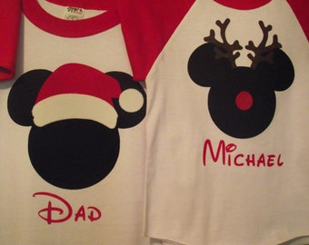 Custom Minnie Mickey Mouse Santa Rudolph Reindeer Disney Inspired Holiday Raglan Shirt Christmas Personalized Present
