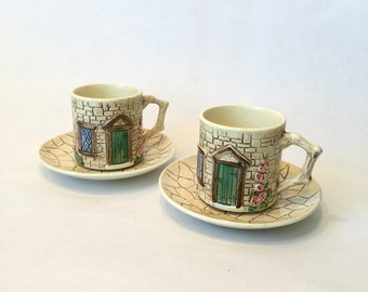 SylvaC Croft Cottage Tea Cups and Saucers Set of 2 Vintage Made in England Ceramic Pottery
