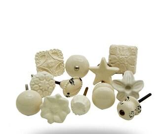 Set of 12 Ceramic Off White Knobs