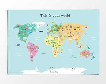 Printed modern world map poster 50 x 70 cm map for kids printable kids world map poster a3 11x14 in 24x36 in nursery poster gumiabroncs Choice Image