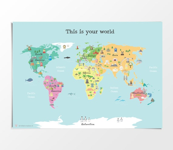 Printable kids world map poster a3 11x14 in 24x36 in printable kids world map poster a3 11x14 in 24x36 in nursery poster educational print gumiabroncs Gallery