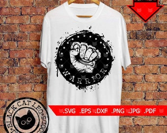 Clenched fist with knuckle Inscriprion warrior vector SVG clip art Arm with knuckleduster grunge shirt design Warrior brass knuckles tattoo