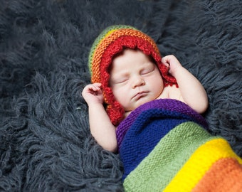 Rainbow Baby Bonnet and Cocoon - Newborn Baby Photo Prop - Photography Prop for Babies