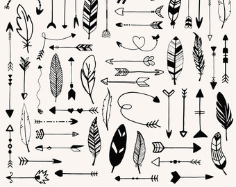 Arrows and feathers clip art, hand drawn arrows, digital arrows, ornaments clipart, aztec, feathers printable, download