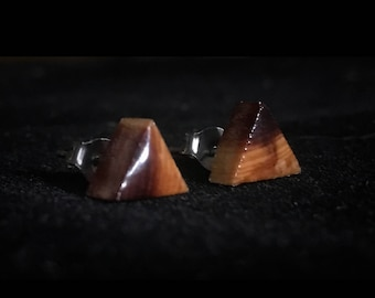 Triangle Cedar Earring Studs