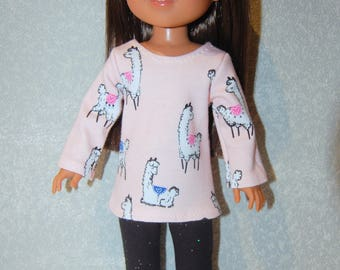"Top and Pants for 14"" Wellie Wishers or Melissa & Doug Doll Clothes Llama shirt black sparkle leggings  tkct1211 READY TO SHIP"