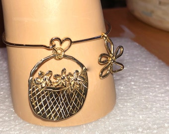 "Fine 14K Gold HEART BANGLE Bracelet w/Heart Clasp & Gold/Bronze Basket of FLOWERS Pendant + Gold Flower Pendant: ""Grow Where You're Planted"""