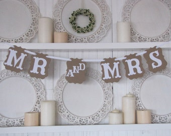 MR and MRS Wedding Banner, Mr and Mrs Wedding Sign, Wedding Decoration, Wedding Chair Signs, Vintage Wedding, Thank You Photo Card