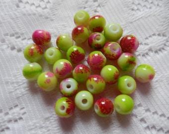 27  Pink Fuchsia Magenta & Apple Green Round Glass Beads  8mm