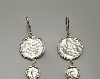 Sterling Silver Hammered Earrings, sterling silver dangle earrings, sterling silver drop earrings, disc earrings
