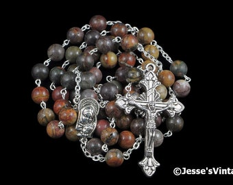 Catholic Rosary Beads Red Creek Jasper Natural Stone Silver Traditional Five Decade Rosary Catholic Gift
