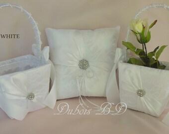 White or Ivory Wedding Ring Bearer Pillow & 2 Flower Girl Baskets 3 pcs.set, White Lace ring bearer pillow, Sash ring pillow