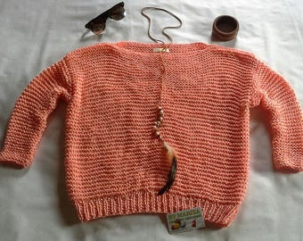 Knitting blouse salmon color .Womens Knit Blouse . Sleeved Knit, Hand Knit Top, Cotton Knit Top, Boatneck Blouse, salmon Knitted Vest