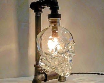 Crystal Skull Head 750ml bottle Lamp