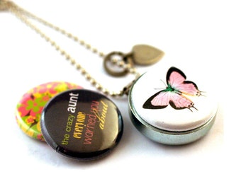 Aunt Jewelry • Aunt Necklace • Aunt Locket • Fun Gift for Aunt • 3 Magnetic Lids • Recycled Steel • Personalized Locket • Favorite Aunt Gift