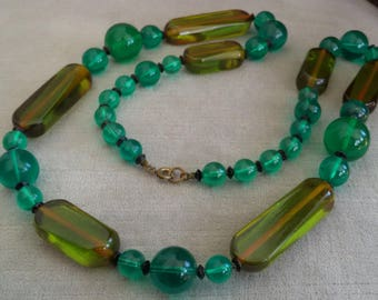 Interesting Vintage Chunky Lucite and Bakelite Combo Beaded Necklace