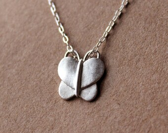 Fine Silver Butterfly Necklace - Handcrafted Silver Jewelry - Silver Butterfly - Fine Jewelry