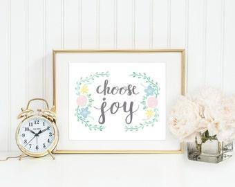 Choose Joy Watercolor Art Print, 8 x 10 Hand Lettered & Painted Motivational Print, Floral Print