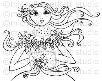 Digital Stamp Image Christmas Snow Goddess Roses Winter Muff Roses Cardmaking Scrapbooking