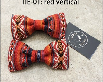 Andean Textile Red Bow Tie