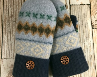 Sweater Mittens - Super Warm!  upcycled, felted wool and DOUBLE lined suede palm