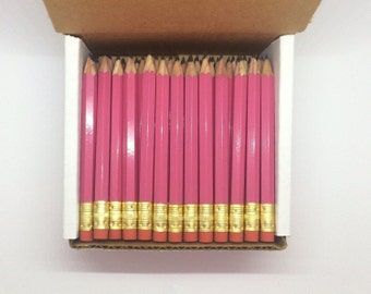 36 Pink Mini short half Hexagon Golf #2 Pencils With erasers Pre-Sharpened Made In the USA - Non Toxic Latex Free Express PencilsTM