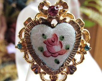Vintage 1940s Coro Guilloche Enamel Gold Plated Heart Pin Back Brooch