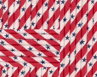 Paper Straws Stars Red White Blue Striped 4th of July beverages parties weddings picnics 30 ct Patriotic party cookouts backyard bbq