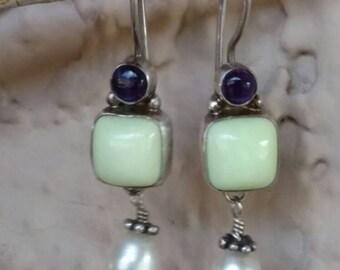 Amethyst dangle earrings. Gemstone earrings. Sterling silver dangle earrings. Gypsy earrings. Hippie chic earrings. Bohemian jewelry.