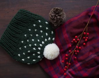 Knit Hat, Wool Knitted Beanie, Women's Winter Fair Isle Hat with Pom Pom - Sweetgum Hat