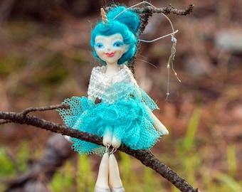 Betsie OOAK Dollie - Unicorn Girl Art Doll - Polymer Clay Sculpture - Posable Doll Ornament Animal Spirit Fantasy