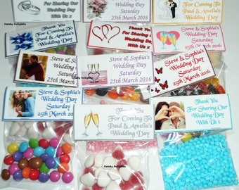 30 Personalised DIY Wedding Day Sweet Bag WRAPPERS Favours - Favour - Party