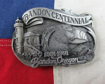 Vintage 1990's Bandon Centennial Tufted Puffin and Lighthouse Belt Buckle Pewter Siskiyou Co Heavy Wildlife Oregon Coast Pacific Northwest