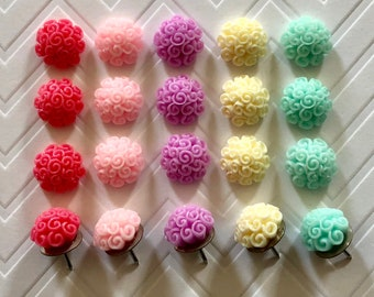 Cute Pastel CurlyCue Thumbtacks - set of 25 - 5 colors available!