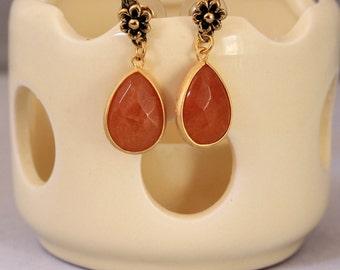 Gold and Apricot Colored Teardrop Earrings, Orange Earrings, Dressing Dangle Earrings, Burnt Sienna Earrings, Formal Jewelry
