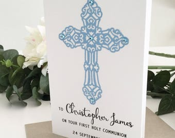 1st Communion Gift Boy, First Holy Communion Card, First Communion Boy, Boys Communion Gift, Confirmation Card, Congratulations Card, Blue