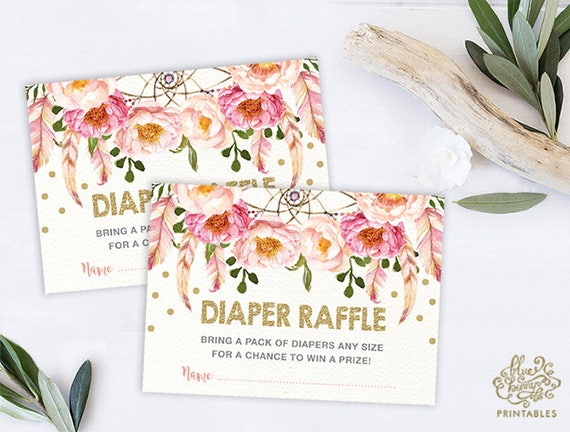 Pink floral diaper raffle boho baby shower invitation insert boho baby shower invitation insert card pink gold watercolor flower bohemian garden baby shower tea flo12a filmwisefo Images