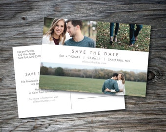 Save the Date Collage, Save the Date Postcard, Photo Collage, Three Photos, Simple, Elegant, Save the Dates, Save Our Dates, Printable, DIY