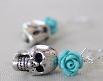 Skull Dangle Flower Earrings, Halloween Earrings, Goth, Rocker Chic, Biker Chic, Day of The Dead