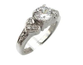925 Silver Ring , Heart Ring, Engagement Ring, Halo ring, Brilliant Ring, Promise Ring , Crystal Swarovski ring, Wedding Ring
