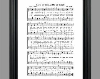 Safe in the Arms of Jesus Lyrics - Hymnal Sheet Sheet Music- Home Decor - Inspirational Art - Gift - Instant Download - #HYMN-037