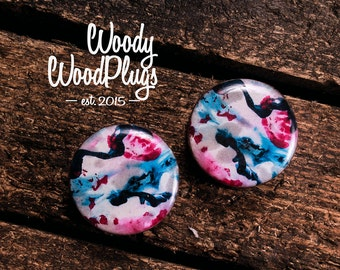 Abstract design ear plugs - wood pink marble plugs - plugs and tunnels - gauges sizes any- color plugs pink and blue ear gauges  art gauges