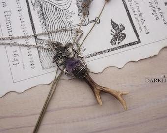 Sprouting. Mini stag shank necklace with amethyst point in 925 silver. Dark magic wiccan collection