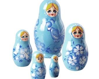 "4"" Tall Blue Nesting Doll"