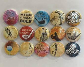 Vintage Golf Magnets - set of 15