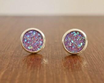 8mm purple faux druzy earrings - purple druzy earrings - silver earrings - lilac earrings - lavender earrings - drusy earrings - druzy studs